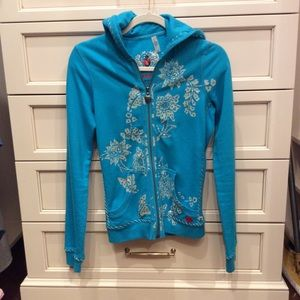 Sweat shirt with crystals flowers